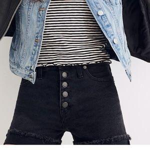Madewell button fly high waist jean shorts